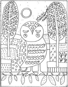 Rug Hook Crafts Paper Pattern White Owl FOLK ART ABSTRACT Primitive Karla Gerard... new paper pattern for sale...from a painting I did and sold in August of 2013...