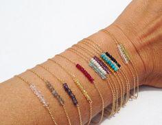 Dainty Bracelet Beaded Bracelet Gold Birthstone by lolabeanjewelry