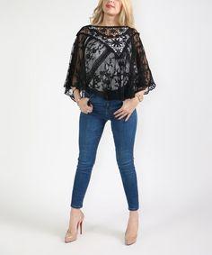 Black Lace Poncho - Plus Too #zulily #zulilyfinds