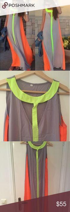 Neon Maxi Summer Dress - Size S/M/L   Neon Maxi Summer Dress - Size S/M/L Maison Folies Dresses Maxi