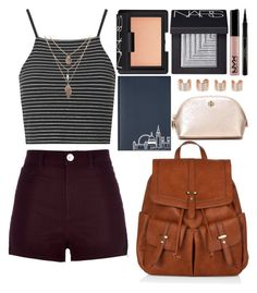 """""""Back to School Outfit: Warm Weather"""" by kdfashiondesigner ❤ liked on Polyvore featuring Topshop, River Island, Accessorize, NARS Cosmetics, Tory Burch, Elizabeth Arden, Under Cover and Maison Margiela"""
