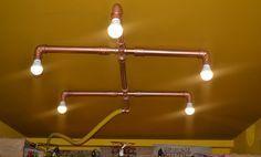 Luminária de teto feira com cano de PVC,