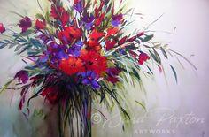 Red Flowers 150cm  x 100cm - Sara Paxton - Sara Paxton Artworks