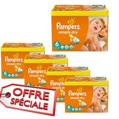 Maxi Giga Pack Jumeaux 744 Couches Pampers de la gamme Simply Dry de taille 6 sur Couches Zone