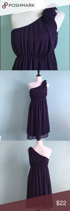 Deep Purple One-Shoulder Dress Beautiful deep purple one-shouldered dress. Elastic waistband and cute floral detailing on shoulder. Size medium by Merona. Would fit a 10-12. In excellent condition. Merona Dresses One Shoulder