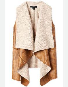 leather and fleece vest