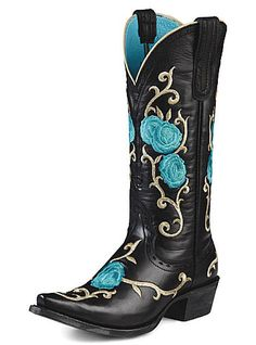 Western Cowboy Boots I Love ARIAT....hate cockroach killers, but I love the blue roses on black leather. ^.^ Not sure where i'd wear these....