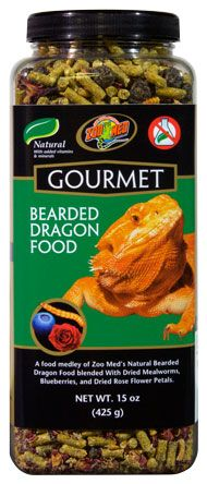 Zoo Med's Gourmet Bearded Dragon Food - Add enrichment to your #BeardedDragon's diet with the addition of Blueberries, Mealworms, and dried Rose flower petals.