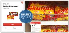 Starburst Candy Bags only $.55 each at Target after Stacked Coupons and Cartwheel! - http://www.couponaholic.net/2015/06/starburst-candy-bags-only-55-each-at-target-after-stacked-coupons-and-cartwheel/