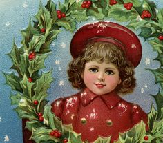 Victorian Christmas Clip Art – Girl with Wreath - from Graphics Fairy...love this site!