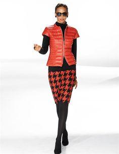 Damen Daunenjacke mit kurzen Ärmeln in der Farbe hummer - rot - im MADELEINE Mode Onlineshop