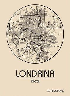 Karte / Map ~ Londrina, Brasilien ~ Südamerika / Brazil ~ South America