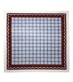 Foulard coton «Les Baumettes » bleu 90x 90 cm