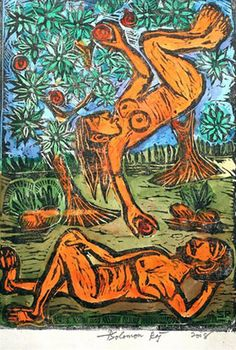 "Garden of Eden"" woodcut print 2008 by Solomon Raj"