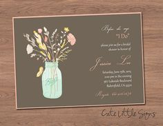Country Bridal Shower Invitation Digital by CuteLittleSigns  Featuring mason jar of flowers! Only $5.00