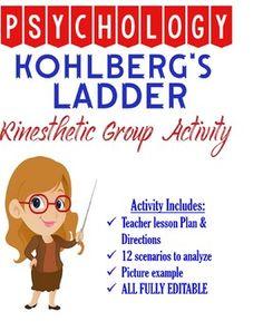 Psychology Kohlberg's Ladder Kinesthetic Group Activity for Development with KEY Kohlberg Moral Development, Psychology Studies, Values Education, Teacher Lesson Plans, Group Activities, Morals, Social Work, Ladder, Acting