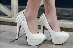 Shoes. Heels. White. Spikes. India. Love (also available in black and orange)