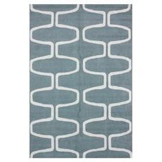 Hand-hooked wool rug with an ogee-inspired motif.  Product: RugConstruction Material: WoolColor: Light blueFeatures: Hand-hookedDimensions: 5' x 8'Note: Please be aware that actual colors may vary from those shown on your screen. Accent rugs may also not show the entire pattern that the corresponding area rugs have.