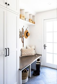 Altadena Modern Farmhouse New Construction White Storage Cabinets, Green Cabinets, Tall Cabinets, Modern Entry, Colonial Style Homes, White Oak Floors, Room Lights, Rustic Design, Rustic Decor