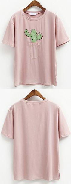 Cute Print - Cactus - Stylish Cactus Pattern Short Sleeve Round Neck T-Shirt For Women
