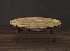 Reclamó la mesa de centro mesa ovalada Industrial por AtlasWoodCo