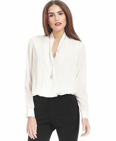 Bar III Top, Long-Sleeve Draped High-Low Blouse - Suits & Suit Separates - Women - Macy's