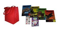 Dinosaur Activity Books, Stickers, Tattoos and Red Tote Bag Set #dinosaur #boys #activity #books #puzzles #tattoos #stickers #coloring #gift