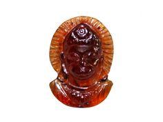 Face of Hanuman in Gomedh / Hessonite - 8 carats