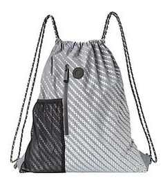 Dot Dot Dot Drawstring Bag - The perfect bag for toting gym clothes or light grocery shopping with pop color drawstring shoulder straps and a reflective dotty print. Diy Fashion, Fashion Bags, Drawstring Backpack Tutorial, Tote Bags, Oxford Shoes Outfit, Diy Backpack, Grey Backpacks, Gym Style, Workout Accessories