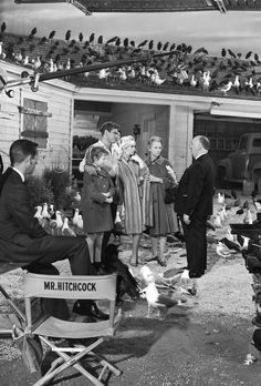 """Alfred Hitchcock and """"cast"""" on the set of """"The Birds"""""""