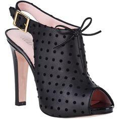 RED VALENTINO Polka-Dot Slingback Sandal Black Leather ($495) found on Polyvore