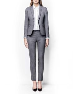 Lovann trousers - Women's trousers in wool-stretch. Features two back paspoil pockets, two front pockets and cutlines at back. Regular waist with slim leg. Trousers Women, Women's Trousers, Tiger Of Sweden, Classic Chic, Slim Legs, Work Attire, Women Wear, Suit Jacket, Fashion Outfits