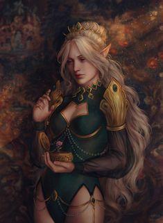 Yulessa Ravenbeak by AnnaHelme on DeviantArt Fantasy Art Women, Dark Fantasy Art, Fantasy Girl, Fantasy Artwork, Female Character Concept, Fantasy Character Design, Character Design Inspiration, Character Art, Elf Characters