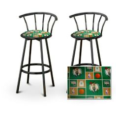 """2 Boston Celtics NBA Themed Specialty / Custom Black Barstools with Backrest Set by The Furniture Cove. $145.87. Black Metal Finish. Set of 2 Bar Stools. These are new, 24"""" Black bar stools with footrests and swivel seats with a backrest! These Feature Boston Celtics NBA Themed fabric seats that are cool and unique. The pads are 14"""" across and the seat is 24"""" tall. The entire height is 35"""". The sides of the seat have nice metal work and there are feet protectors on the bottom of ..."""