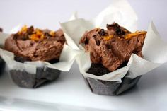 Vegan chocolate ginger orange cupcakes.  Love how the parchment paper looks like a stylish upturned collar.