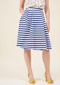 Dusk and Stunner Midi Skirt in Cobalt in XS, #ModCloth