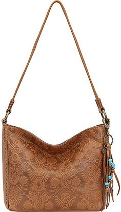8ead3388afcc Amazon.com  The Sak Women s Indio Leather Demi Tobacco Floral Embossed One  Size