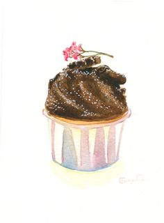 Cupcake 35 - Original Watercolor Painting 8x6 inches. $25.00, via Etsy.