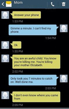 Texts between Mom and daughter....