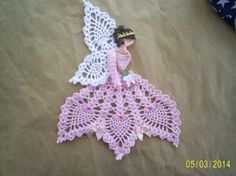new hand crochet crinoline lady Handmade Crocheted Crochet Applique Patterns Free, Doily Patterns, Crochet Motif, Crochet Doilies, Crochet Flowers, Hand Crochet, Crochet Lace, Free Pattern, Thread Crochet