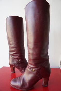 Bottes Boots Cavalieres Cuir Leather T 39 Vintage VTG 70 bohême HippY PREPPY