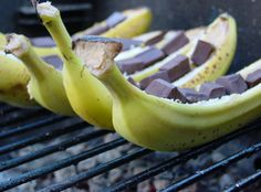 Hot chocolate on a freshly grilled banana? This healthy and sweet dessert is sure to be a hit at your Labor Day Picnic!