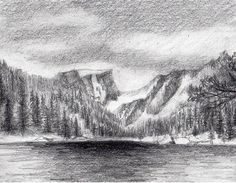 mountains drawing draw drawings mountain pencil easy landscape snow trees rocks perspective sketch covered point depth learn them three
