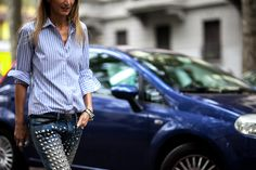 Sarah Rutson wearing Junya Watanabe studded jeans after a show in Milan, Italy