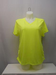 Danskin Womens Athletic Knit Top Plus Size 1X Solid Yellow Short Sleeve Pullover #Danskin #ShirtsTops