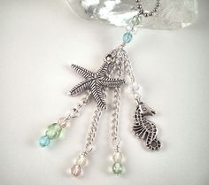 Rear View Mirror Car Charm  Seahorse and Starfish by CarCharmShop, $10.99