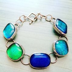 You can always channel the beach or the pool with this amazing Mexican silver and glass bracelet!