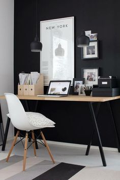 Home Decoration Ideas: Black & White Monochrome Minimalist Office Space Inspiration.