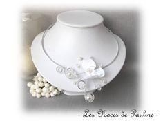 Collier mariage blanc et cristal Orchidée Anaïs 'Les Volutes' - Créateur - Tous les Bijoux/Colliers - valenteens