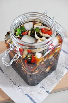 K Food, Korean Food, Fritters, Food Plating, Pickles, Cucumber, Mason Jars, Food And Drink, Cooking Recipes